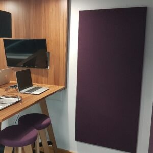 acoustic panels to muffle sound in the home office - installation -echo fabric wrapped panel - clearsound acoustics