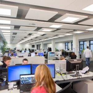 acoustic raft installation in an open plan office - ecophon solo - clearsound acoustics