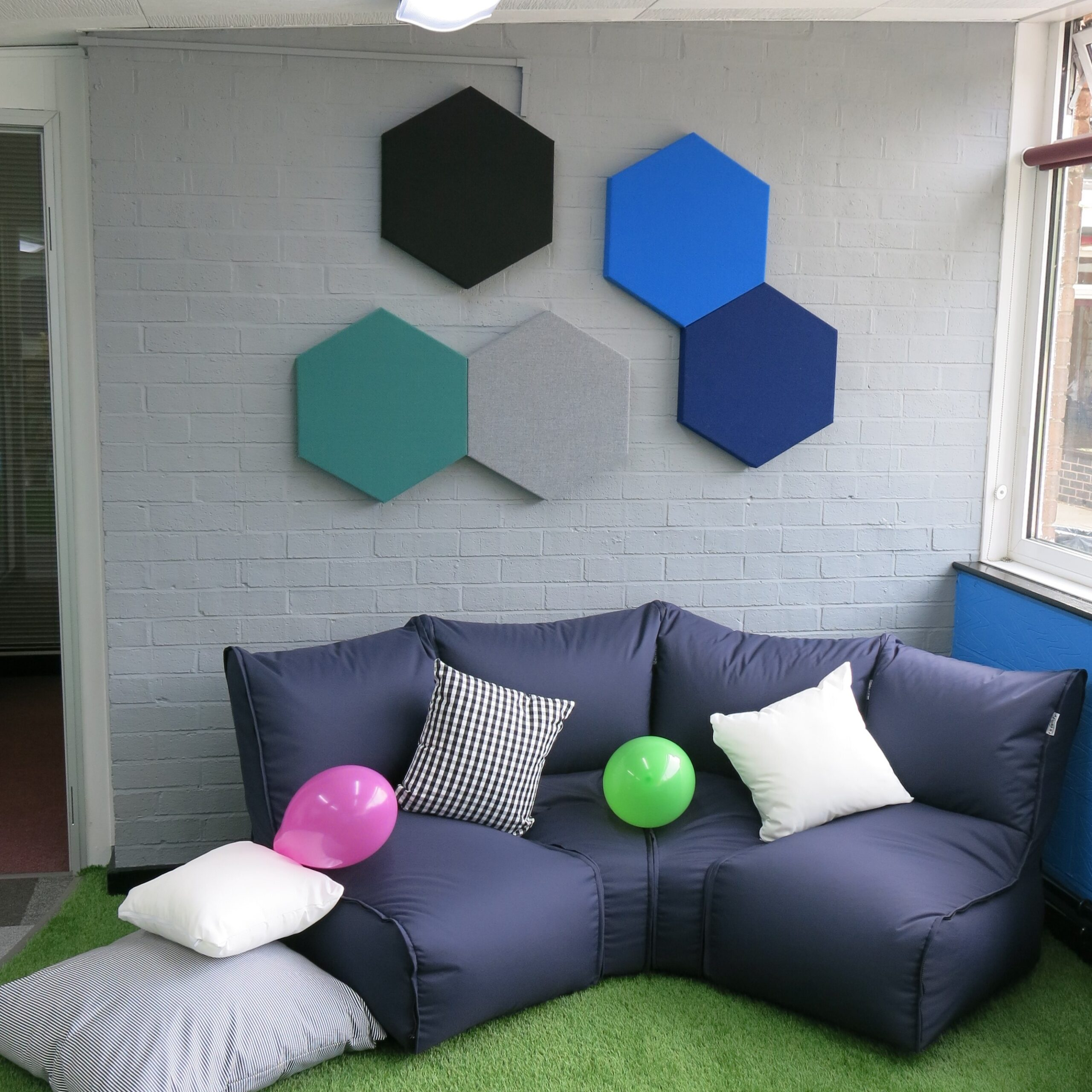 Echo Geo Fabric Wrapped Hexagon Acoustic Panels